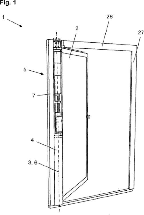 Disposición de puerta, en particular puerta de seguridad con un accionamiento de puerta integrado.