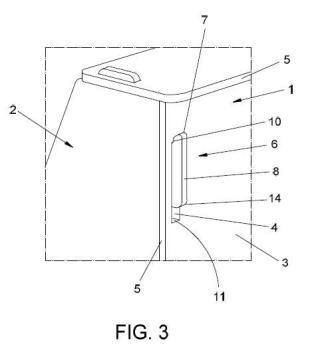 Dispositivo de unión entre partes de una caja y procedimiento de unión entre partes de una caja.