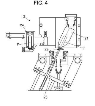Procedimiento para la fabricación de botellas de cuello inclinado, y máquina para la puesta en práctica de dicho procedimiento.