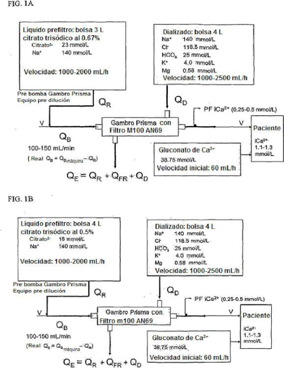 Proceso para el control metabólico y la elevada depuración de solutos y soluciones para usar en éste.