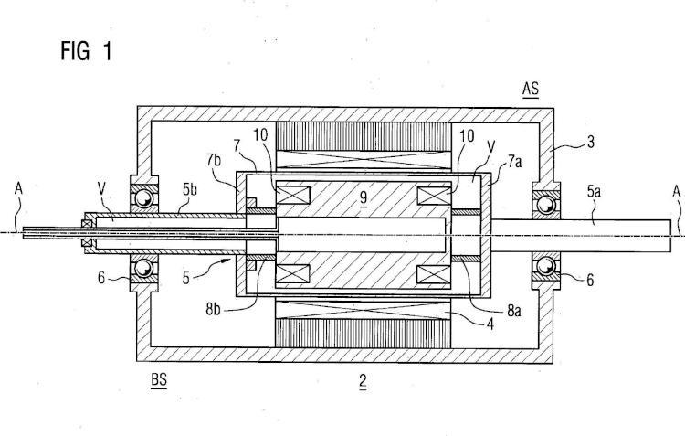 Máquina eléctrica superconductora con un dispositivo de unión para compensar la dilatación axial de un soporte de devanado.