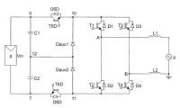 Circuito inversor monofásico para acondicionar y convertir energía eléctrica de corriente continua en energía eléctrica de corriente alterna.