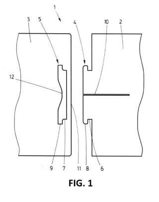 Sistema de unión de dos piezas laminares.