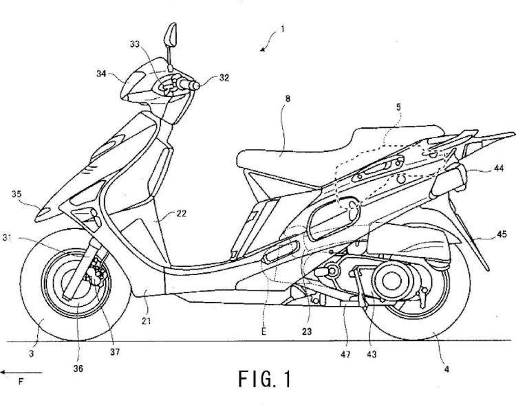 Estructura de disposición de bote de motocicleta.