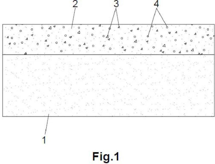 Elemento prefabricado de hormigón de dos capas para pavimentación con efecto descontaminante.