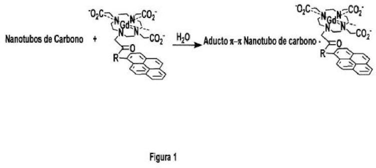 Compuestos y composiciones que comprenden nanotubos de carbono y compuestos de formula (I) y su uso como agentes de contraste.