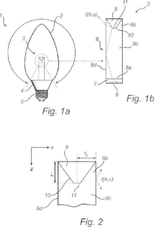 Fuente de luz con ledes, guía de luz y reflector.