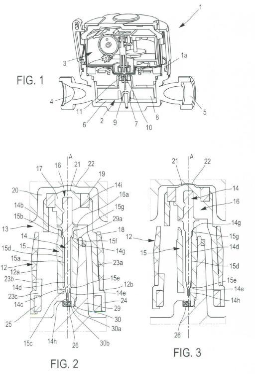 Medidor de flujo de turbina de fluido con cojinete de centrado.