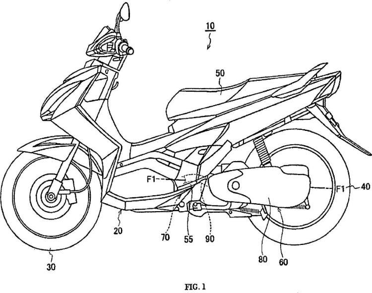 Transmisión de tipo correa en V para una motocicleta.