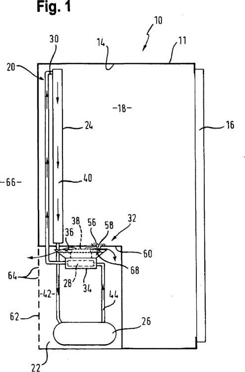 Dispositivo de evaporación para un aparato refrigerador.