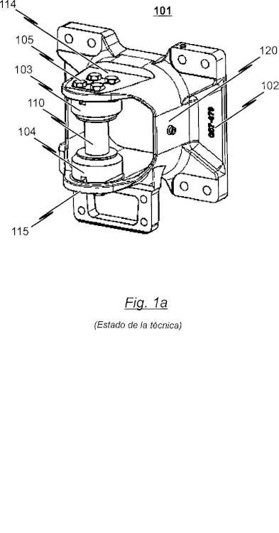 Soporte de cojinete para la articulación de una barra de acoplamiento en una caja de vagón de un vehículo guiado sobre raíles.