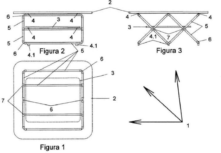 Mesa con soporte tubular sencillo o doble.