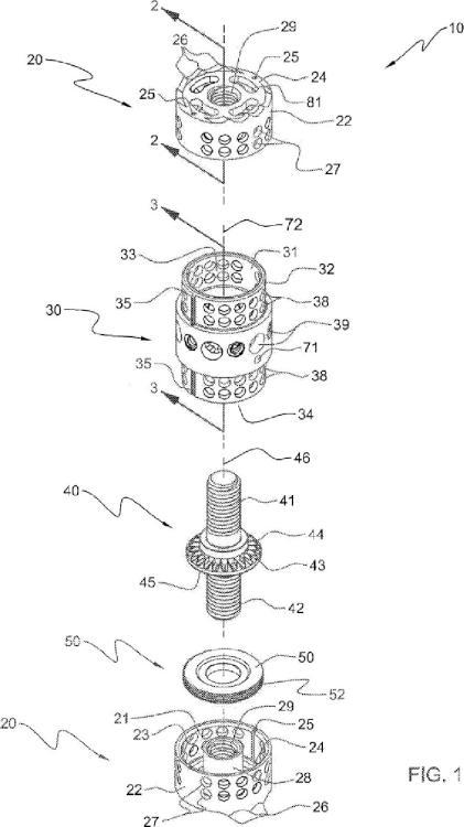 Miembro de placa de soporte de un dispositivo de sustitución del cuerpo vertebral, y método de montaje asociado.
