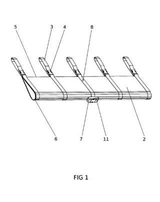 Soporte modular de accesorios instalable en los cabos de amarre de embarcaciones.