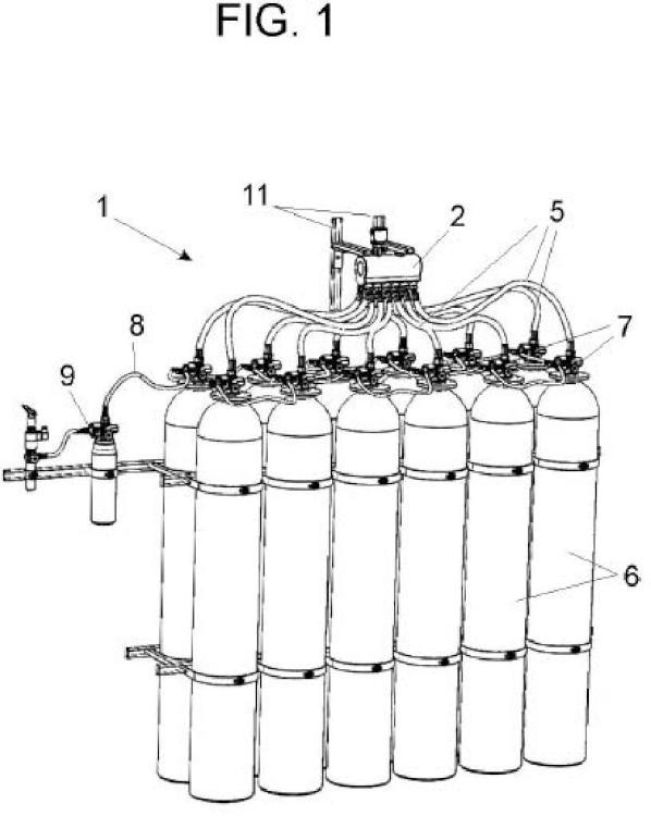 Equipo colector de descarga modulable para cilindros de agente extintor contra-incendios.