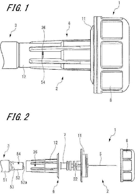 Conjunto de aguja hipodérmica y dispositivo de inyección de medicamentos.