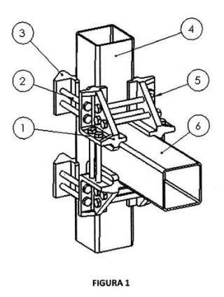 Sistema de unión desmontable y reconfigurable para perfiles de tubo cuadrado.