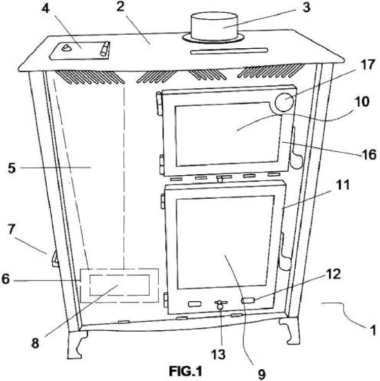 Estufa con horno de cocina incorporado.