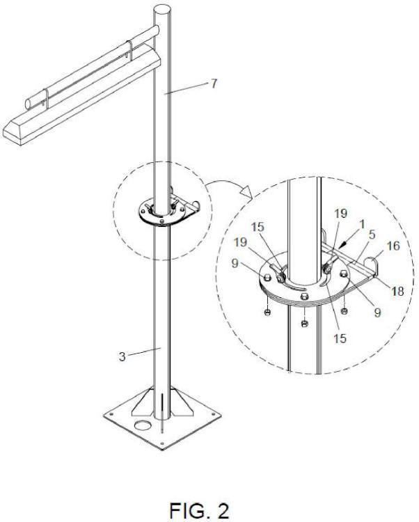 Articulación para un báculo de un equipo de alumbrado y báculo con articulación.