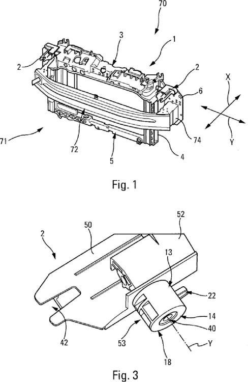 Módulo de frente delantero de vehículo, especialmente vehículo automóvil.