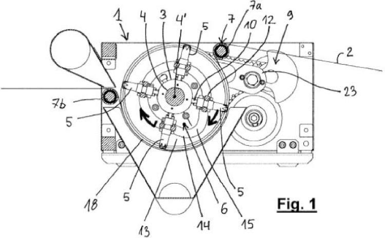 Un aparato y un método para practicar perforaciones en un material en movimiento en forma de banda.