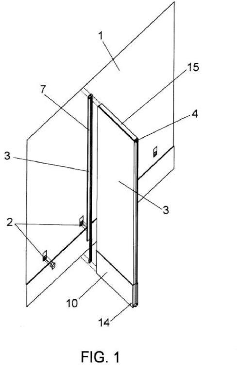 Conjunto modular para división de espacios interiores de edificios.