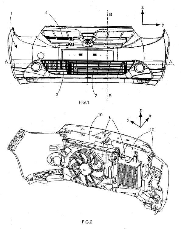 Dispositivo de guiado de aire para la parte delantera de un vehículo automóvil.