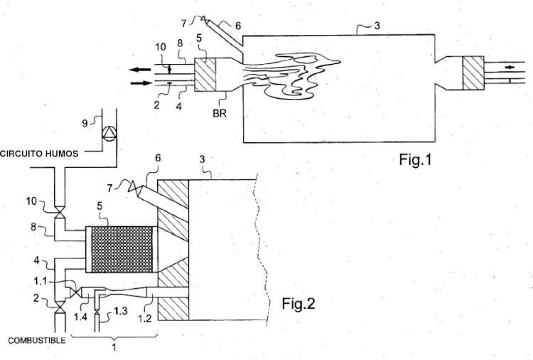 Dispositivo y procedimiento de gestión de componentes no quemados para quemadores de regeneración, quemador que comprende un dispositivo de este tipo.