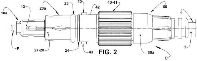 Conector para cable de fibra óptica.