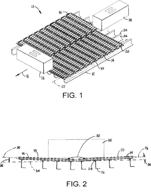 Volteador de cajas de doble cinta con rodillo pasivo.
