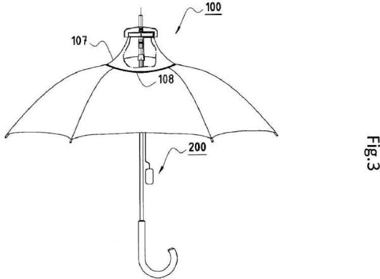 Dispositivo eólico generador de electricidad para paraguas y sombrillas.