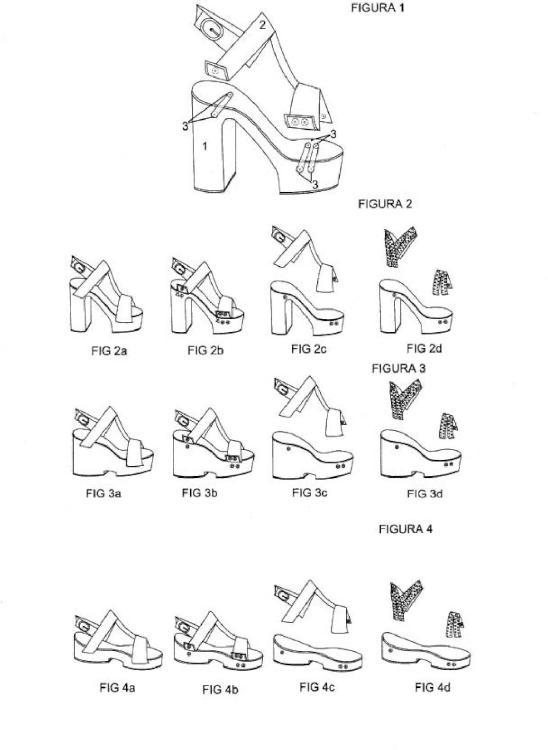 Zapatos de alturas variables mediante suelas y cortes intercambiables entre sí.