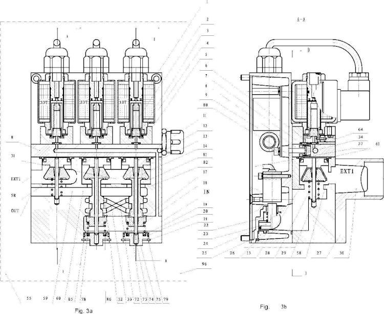 Válvula doble de control de seguridad para prensa con protección de interrupción de alimentación.