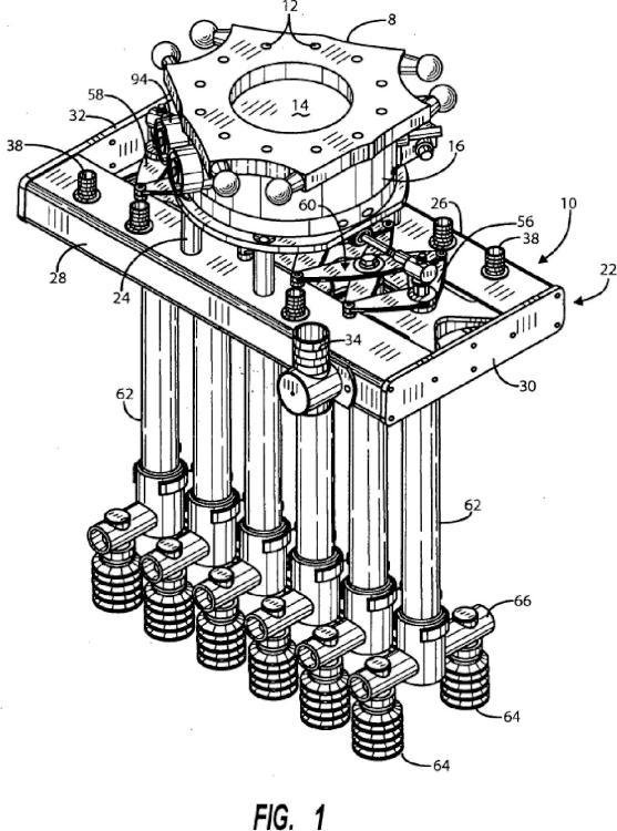 Efector terminal giratorio, comprimible y expandible, para un robot industrial.