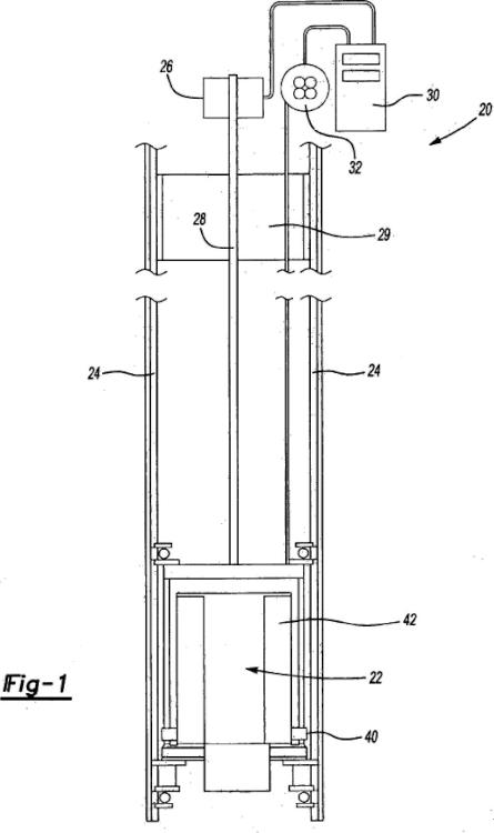 Posicionamiento de cabina de ascensor usando un amortiguador de vibraciones.