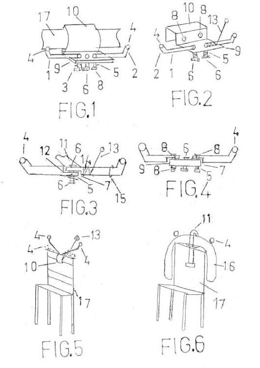 Percha doble plegable y extensible acoplable a cualquier tipo de sillón o asiento, disponiendo de sistemas antirrobo.