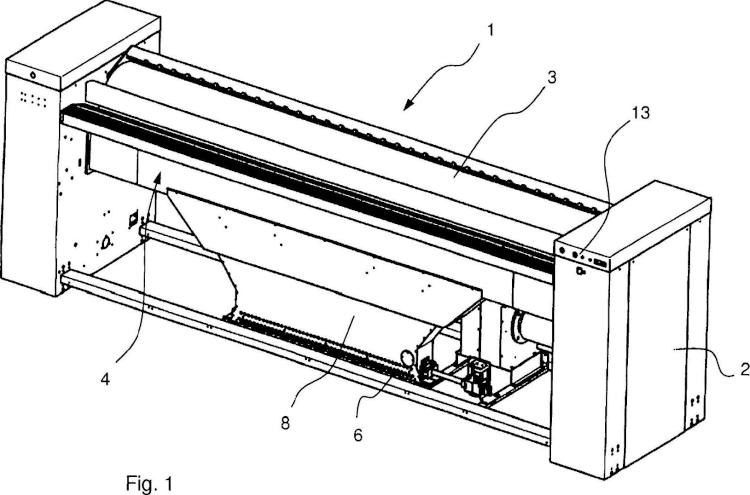 Máquina de planchar a modo de una calandria.
