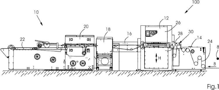 Dispositivo para un troquel de lecho plano y procedimiento para alimentar una banda de material de impresión.