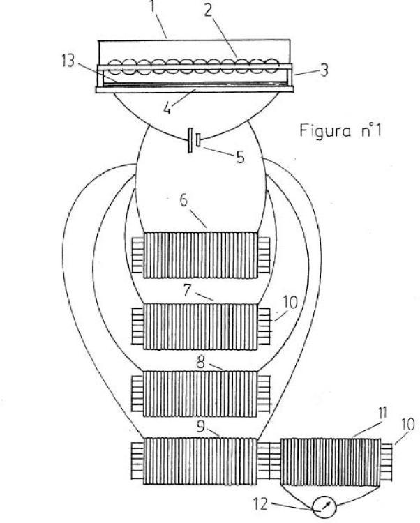 Generador solar con microlupas y multiplicador de corriente, con célula termovoltaica con mil parejas de cables.