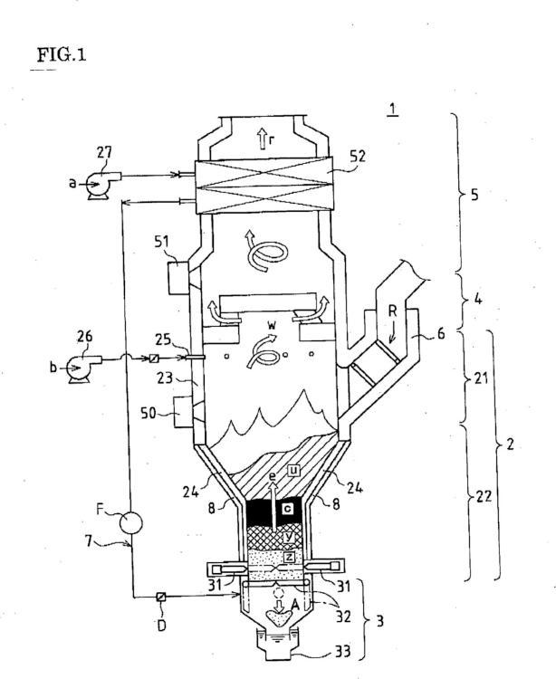 Un método para suministrar aire de combustión a un incinerador vertical de basuras y un incinerador vertical de basuras.