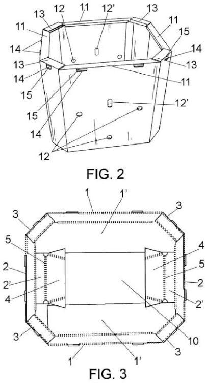 Caja octogonal automontable.