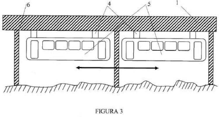 Tren pendular sustentado mediante levitación neumática sobre una vía monorraíl y sistema de tracción.
