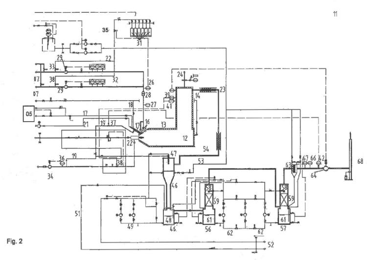 Procedimiento e instalación para el tratamiento de fluidos que presentan medios refrigerantes y/o espumantes.