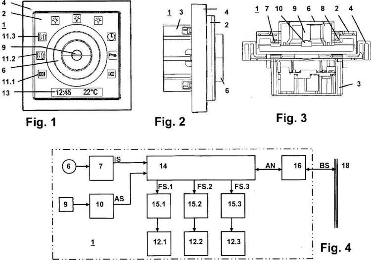 Aparato de mando multifunción con botón giratorio y símbolos de función.
