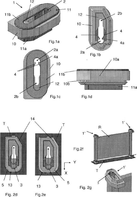 Dispositivo de fijación de un elemento de panel frontal de refrigeración de vehículo automóvil tal como un radiador (R).