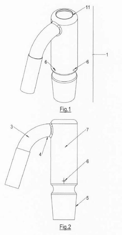 Dispositivo de vidrio para calentamiento de aire aspirado.