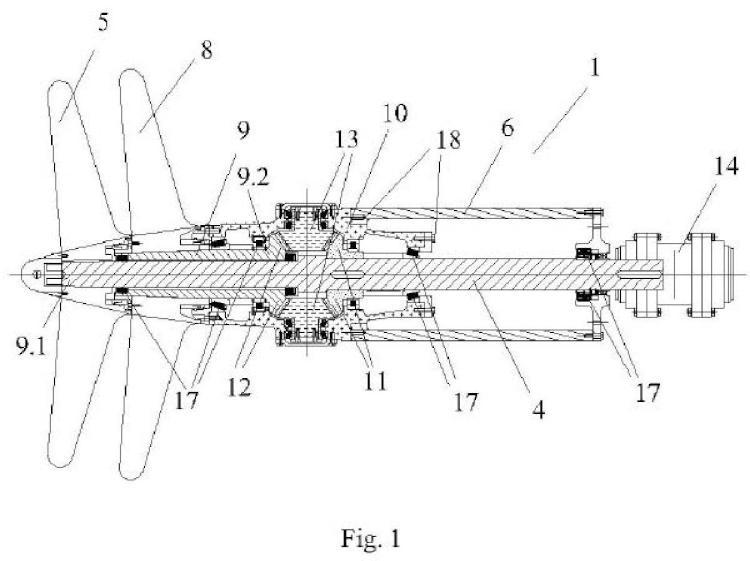 Dispositivo de hélices contrarrotantes para embarcaciones con propulsión por líneas de ejes.