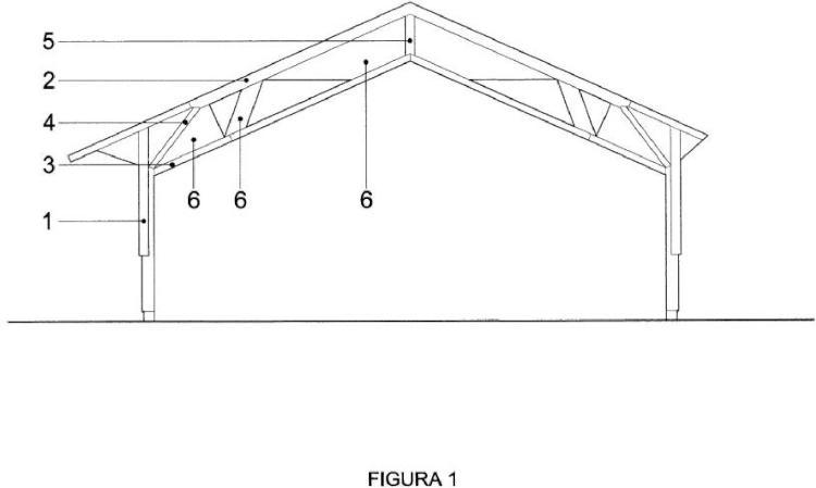 Pórtico estructural de madera para edificaciones a dos aguas.