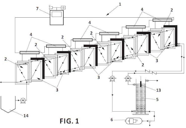 Sistema bioelectroquímico y procedimiento para la eliminación de materia orgánica y compuestos nitrogenados de aguas residuales.