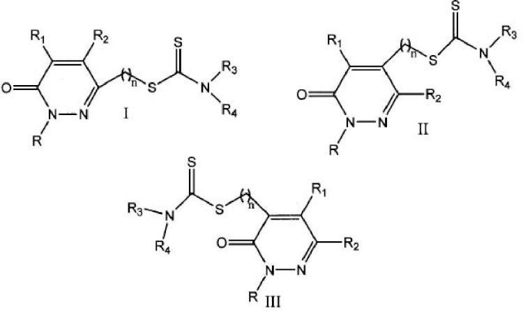 Derivados de piridazin-3(2H)-ona inhibidores selectivos de la isoforma B de la monoaminooxidasa.